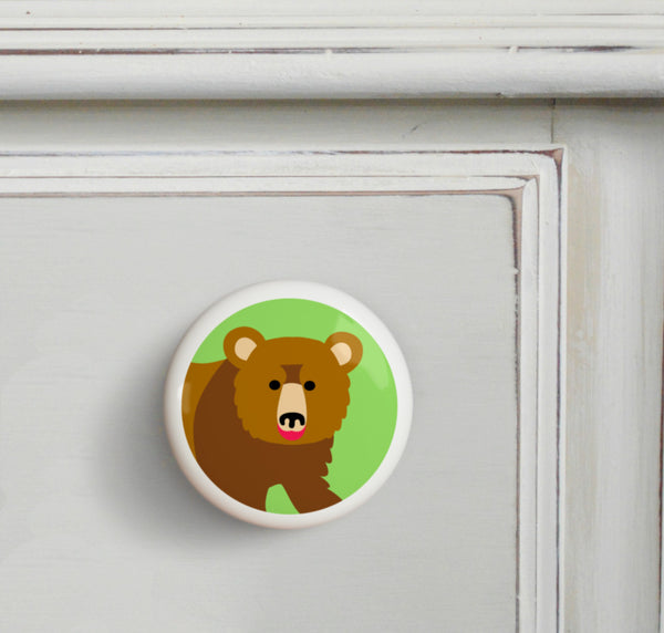 Grizzly Bear - Wild Animals Small Ceramics Kids Drawer Knob by Olive Kids from Art Appeel