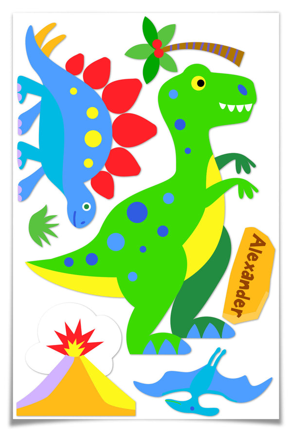 Dinosaur Land Personalized Jumbo Peel & Stick Kids Wall Decal