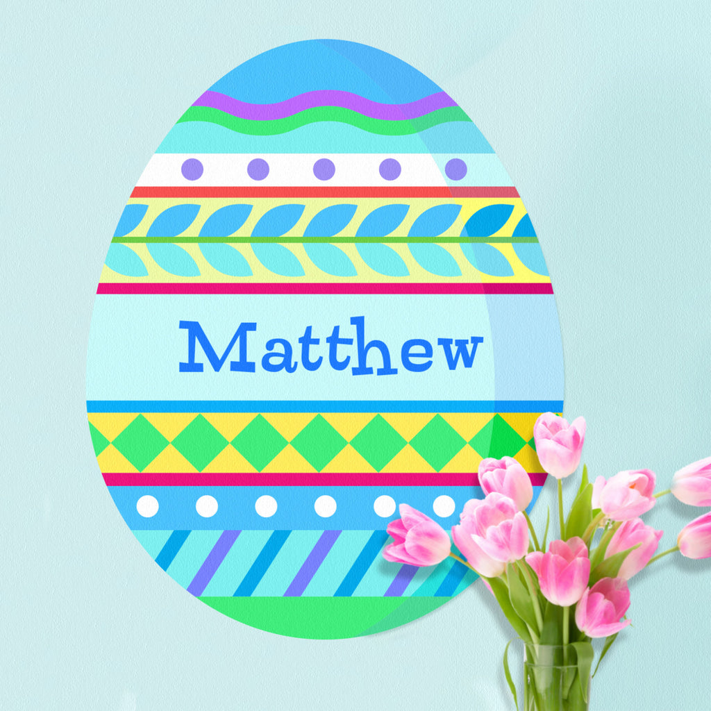 "Personalized 18"" Blue Easter Egg Decal"