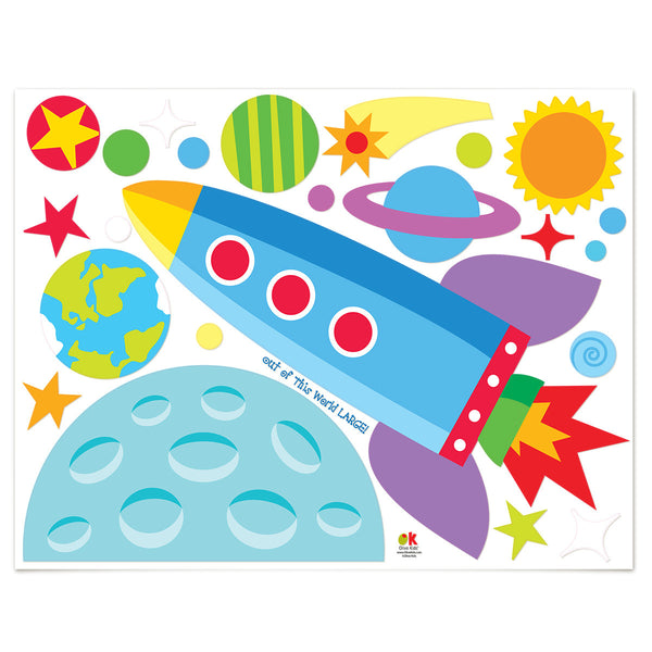 Out of This World Personalized Jumbo Peel & Stick Kids Wall Decal