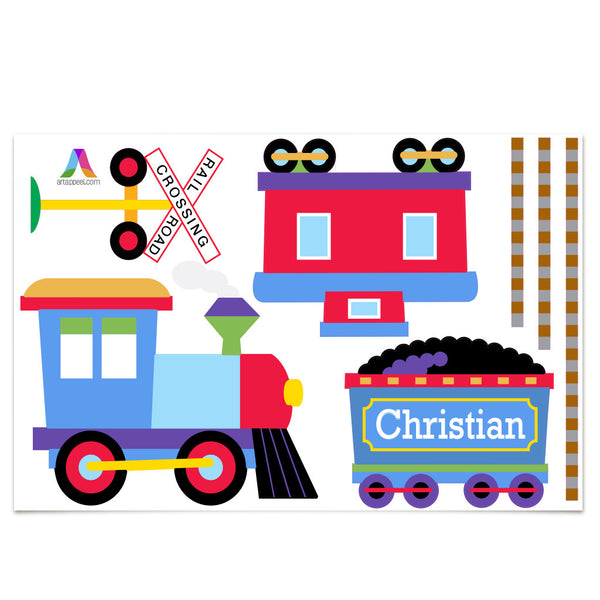Trains, Planes & Trucks Personalized Jumbo Peel & Stick Kids Wall Decal