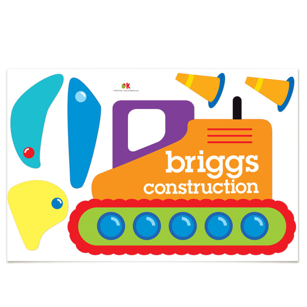 Under Construction Personalized Jumbo Peel & Stick Kids Wall Decal