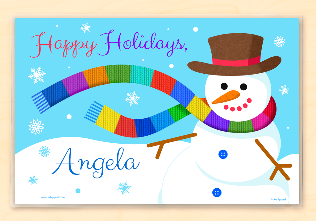 Personalized Kids Name Placemat With Colorful Snowman in Knit Rainbow Scarf