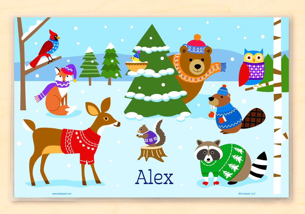 Winter Holiday Animals in sweaters Personalized Kids Placemat