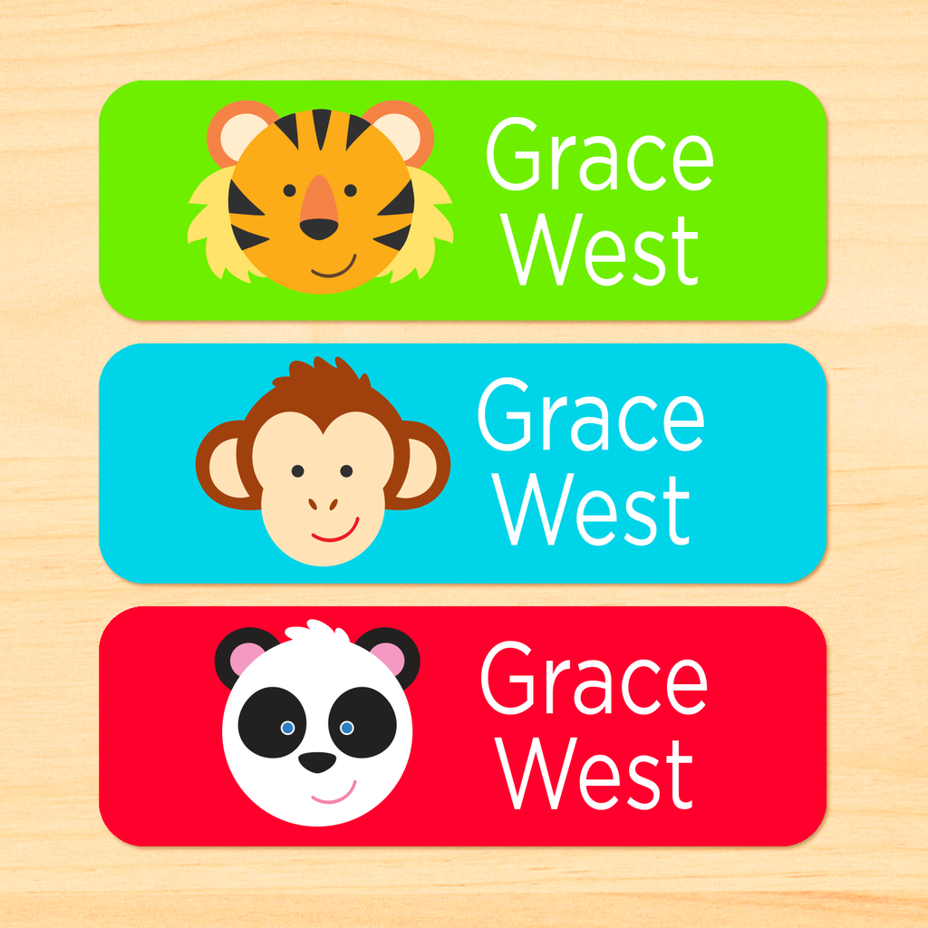 Zoo Animals Personalized Rectangle Kids Waterproof Labels