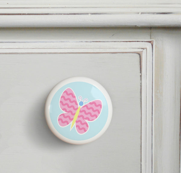 Pink - Butterfly Garden Small Ceramics Kids Drawer Knob by Olive Kids from Art Appeel
