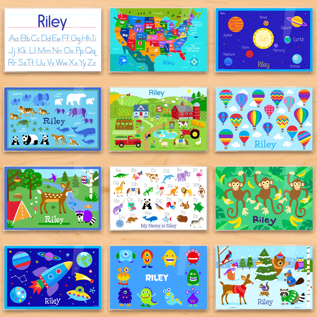 Educational Gift For Kids of Personalized Placemats for Each Month, including alphabet, usa map, planets, endangered animals, farm, hot air balloons, camping trip, monkeys, outer space with rocket ship, monsters, and winter snowy animals