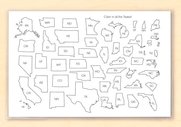 Kids Personalized Educational United States Coloring Map Placemat For Homeschooling and Learning The States