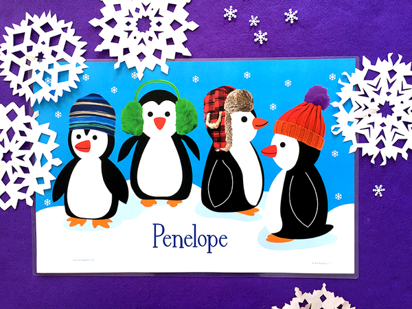 Holiday penguins kids personalized name placemat with knitted winter hats and paper snowflakes