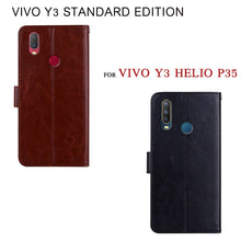 Load image into Gallery viewer, Flip Case For Vivo Y3 Helio P35 Premium Funda Leather Card Cover For Vivo Y3 Standard Edition Case Protective Phone Stand  Capas