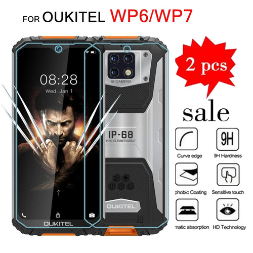 2pcs Tempering Glass For Oukitel WP7 Screen Protector Scratch Proof LCD Film Glass For Oukitel WP6 Cover