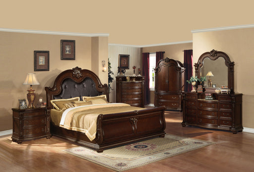 Anondale Espresso PU & Cherry Eastern King Bed image
