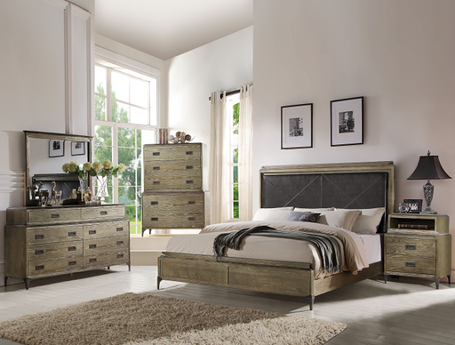 Athouman PU & Weathered Oak Queen Bed image
