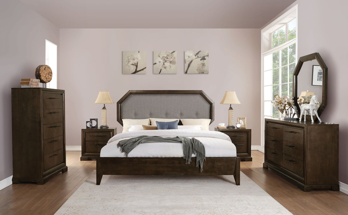 Selma Light Gray Fabric & Tobacco Eastern King Bed image