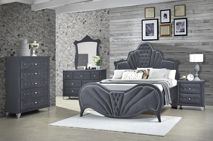 Dante Gray Velvet Eastern King Bed image