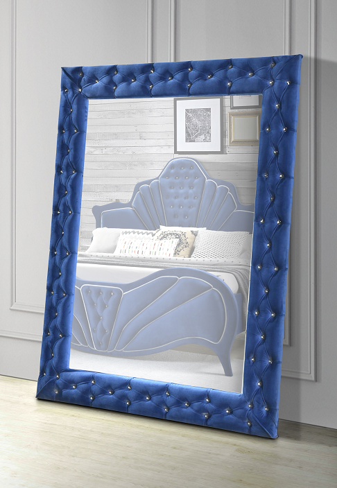 Dante Blue Velvet Accent Floor Mirror image