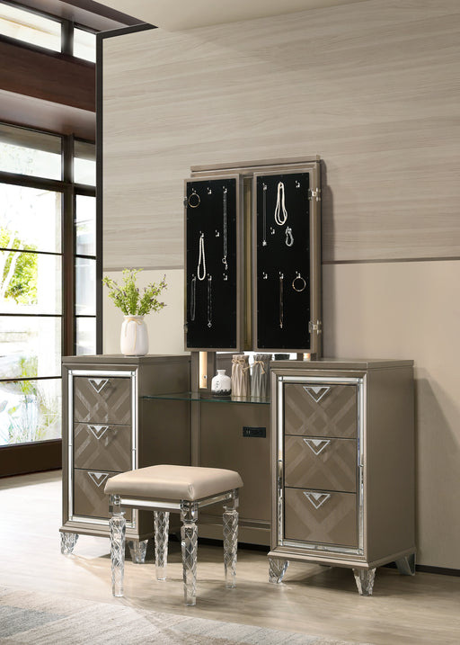 Skylar LED & Dark Champagne Vanity Desk & Mirror image