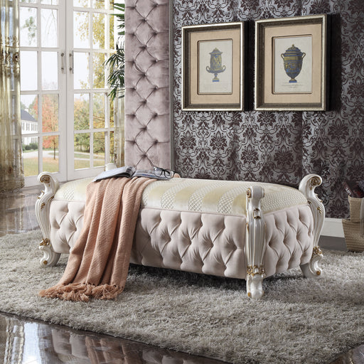 Picardy Fabric & Antique Pearl Bench image