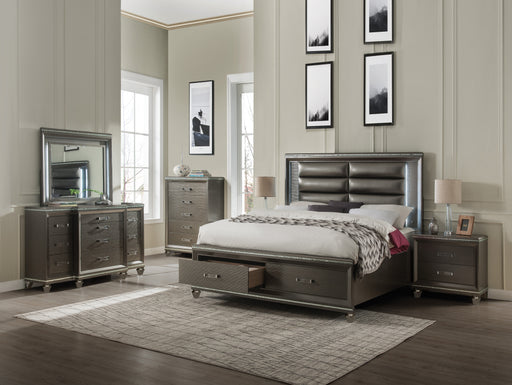 Sadie PU & Dark Champagne Queen Bed image