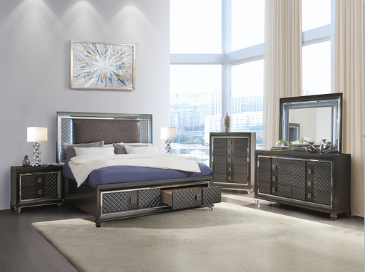 Sawyer PU & Metallic Gray Eastern King Bed image