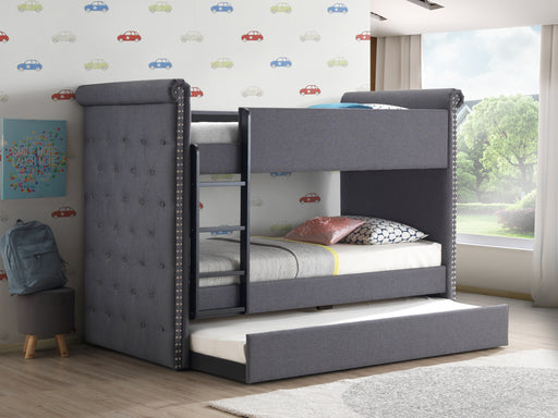 Romana II Gray Fabric Bunk Bed & Trundle (Twin/Twin) image