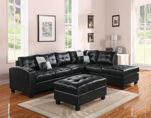 Kiva Black Bonded Leather Match Sectional Sofa w/2 Pillows image