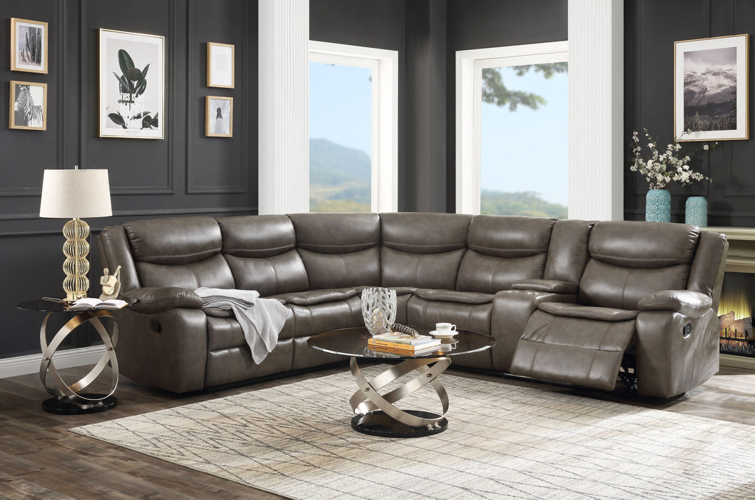 Tavin Taupe Leather-Aire Match Sectional Sofa (Motion) image