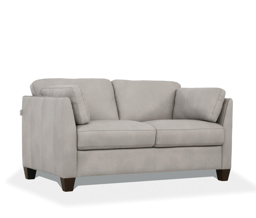 Matias Dusty White Leather Loveseat image