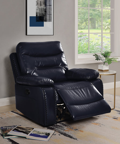 Aashi Navy Leather-Gel Match Recliner (Motion) image