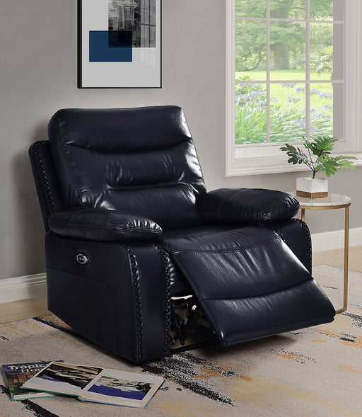 Aashi Navy Leather-Gel Match Recliner (Power Motion) image