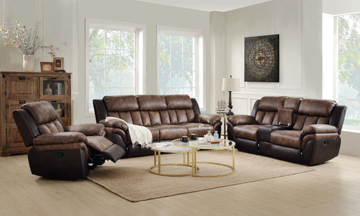 Jaylen Toffee & Espresso Polished Microfiber Sofa (Motion) image