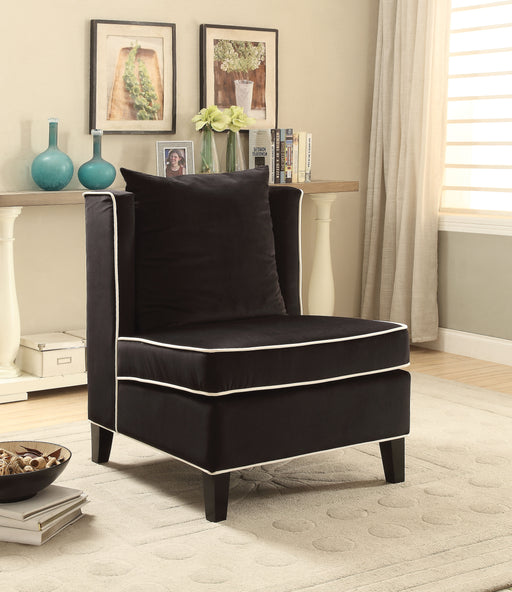 Ozella Black Velvet Accent Chair image