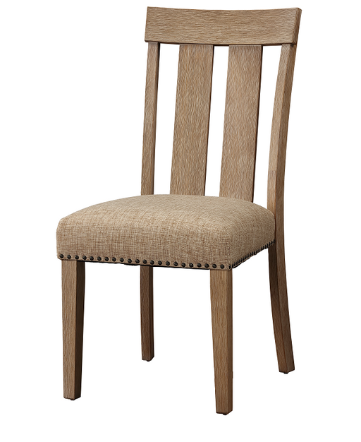 Nathaniel Fabric & Maple Side Chair , Slatted Back image
