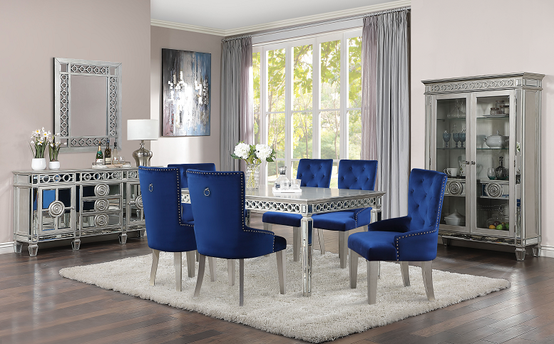 Varian Mirrored Antique Platinum Dining Table 90 L Beverly Hills Furniture Bx