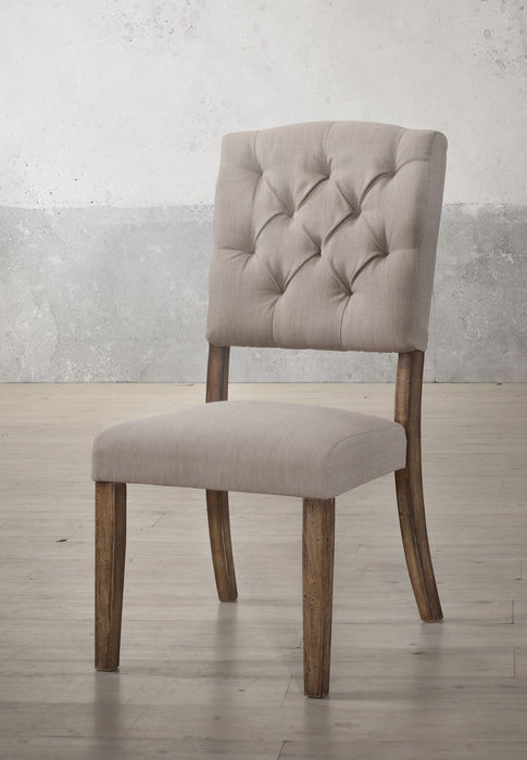 Bernard Cream Linen & Weathered Oak Side Chair image