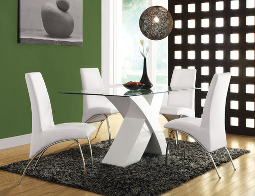 Pervis White & Clear Glass Dining Table image