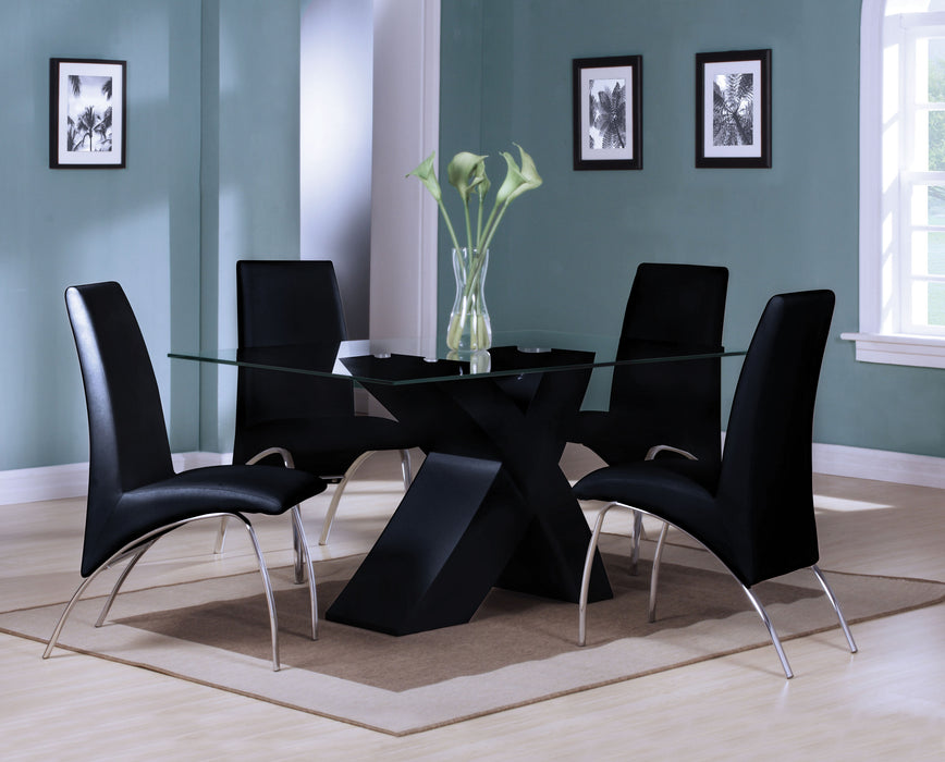 Pervis Black & Clear Glass Dining Table image