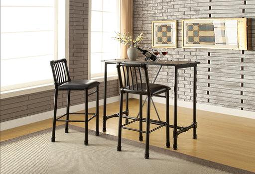 Caitlin Rustic Oak & Black Bar Table image