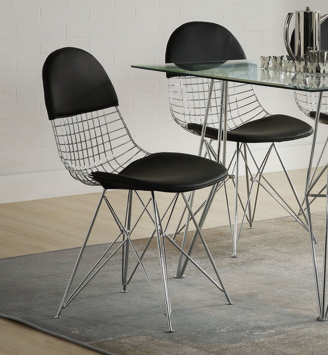 Paula Black PU & Chrome Side Chair image