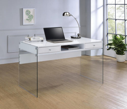 G800829 Contemporary Glossy White Writing Desk image