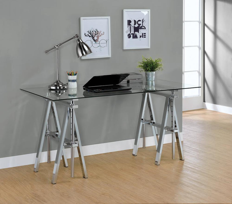 G800900 Casual Silver Glass Top Adjustable Writing Desk image