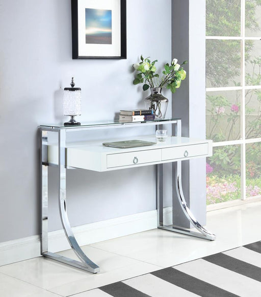 G802141 Contemporary Glossy White Writing Desk image