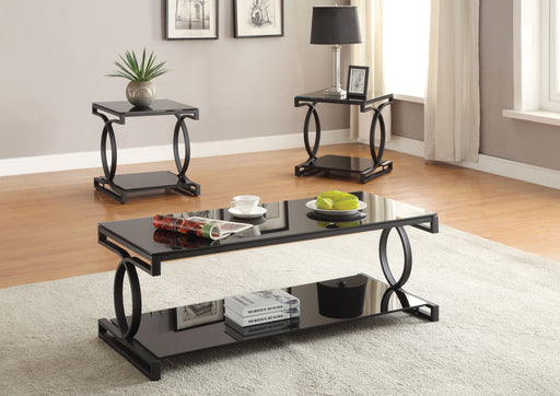 Milo Sandy Black & Black Glass Coffee/End Table Set (3Pc Pk) image