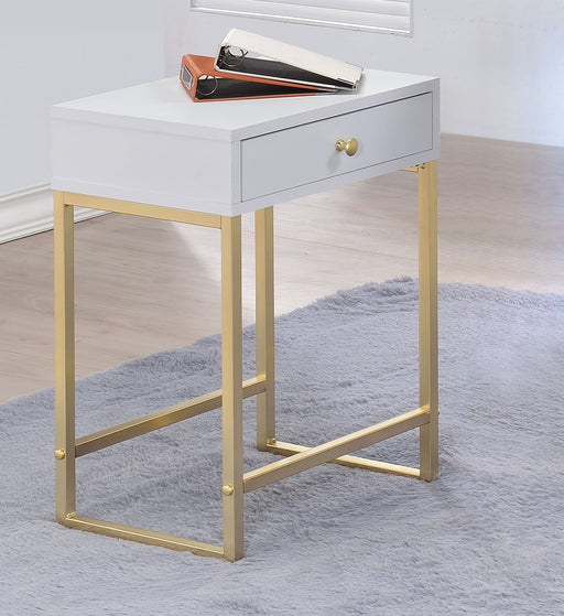 Coleen White & Brass Side Table image