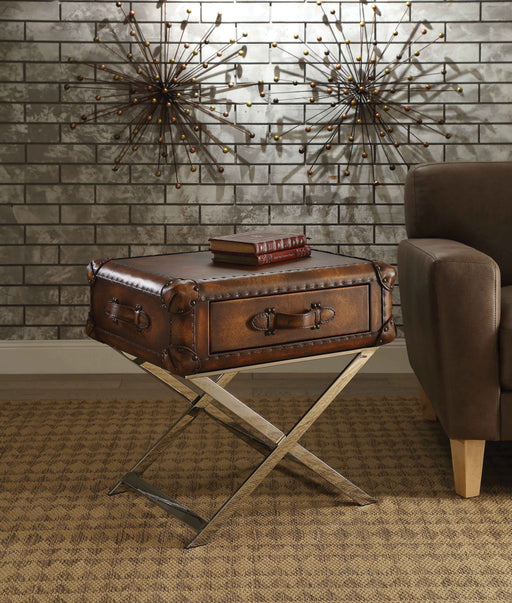 Aberdeen Vintage Mocha Top Grain Leather End Table image