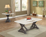 Romina White Marble & Weathered Espresso Coffee Table image