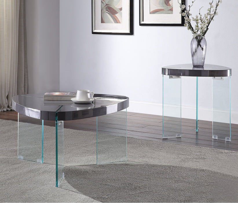 Noland Gray High Gloss & Clear Glass Coffee Table image