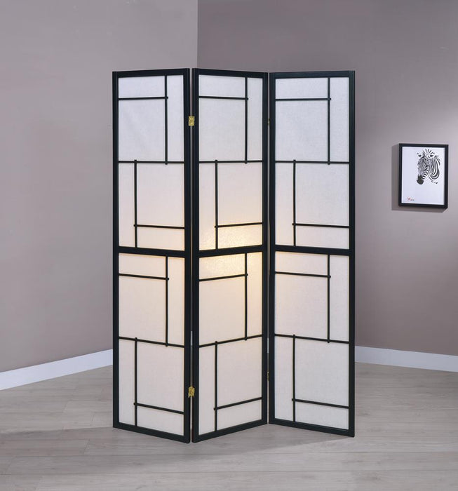 G900102 Contemporary Black Three-Panel Screen image