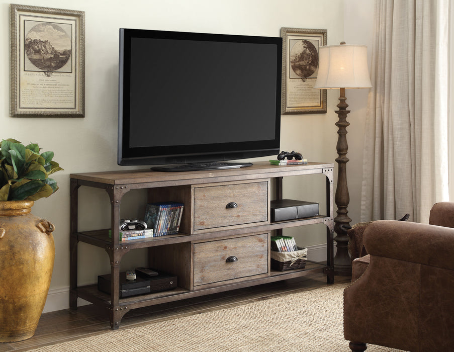 Gorden Weathered Oak & Antique Silver TV Stand image