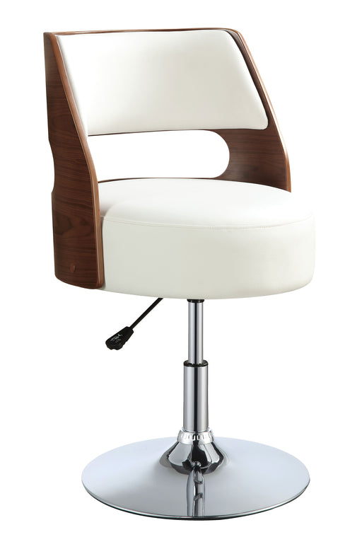 Camila White PU & Walnut Adjustable Stool (1Pc) image